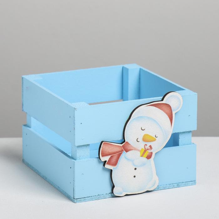Деревянный ящик реечный «Снеговик», 13 × 13 × 9 см, с декором