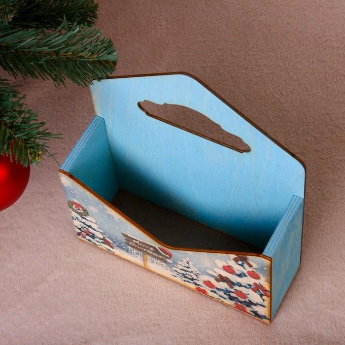 """Кашпо флористическое """"Конверт, Новогодний №1"""", деревянная ручка, голубое, 20,5×18×6 см"""