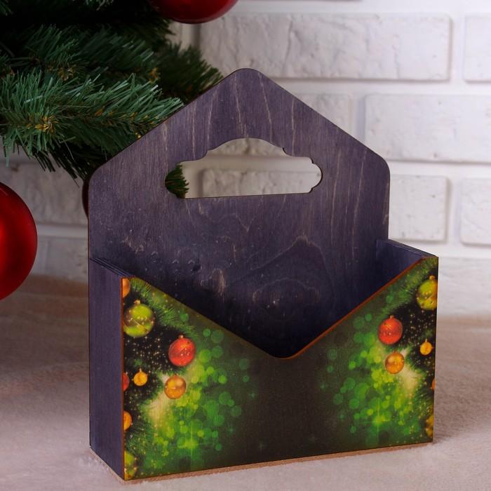 """Кашпо флористическое """"Конверт, Новогодний №2"""", деревянная ручка, чёрное, 20,5×18×6 см"""