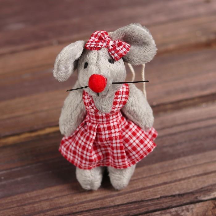 """Мягкая игрушка-подвеска """"Мышка"""" полосатый костюмчик, виды МИКС   R-13332AB"""