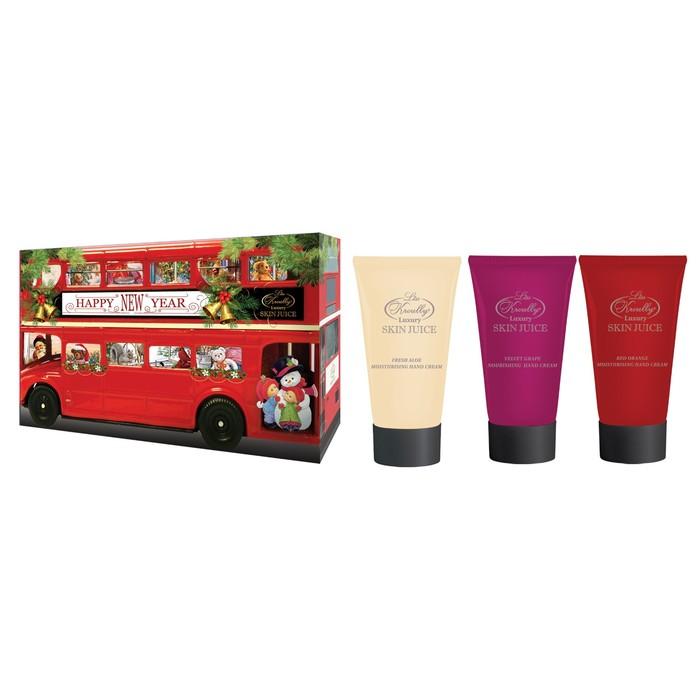 """Подарочный набор Skin Juice """"Автобус"""": Крем для рук увлажняющий 50 мл + питат. 50 мл + для ногтей 50 мл."""