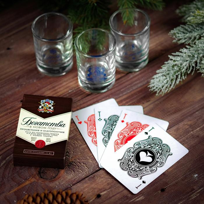 Подарочный набор «Богатства в новом году!», рюмки и карты