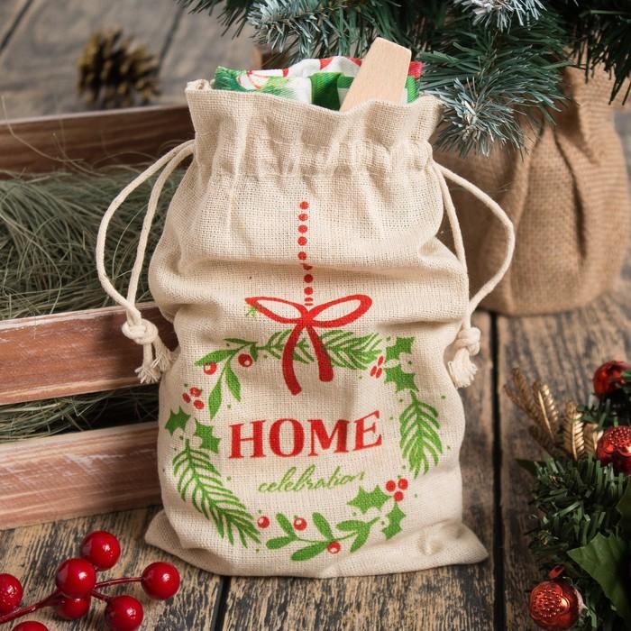 """Набор подарочный """"Home celebration"""" мешочек текстильный, полотенце 35х60, лопатка 20см"""