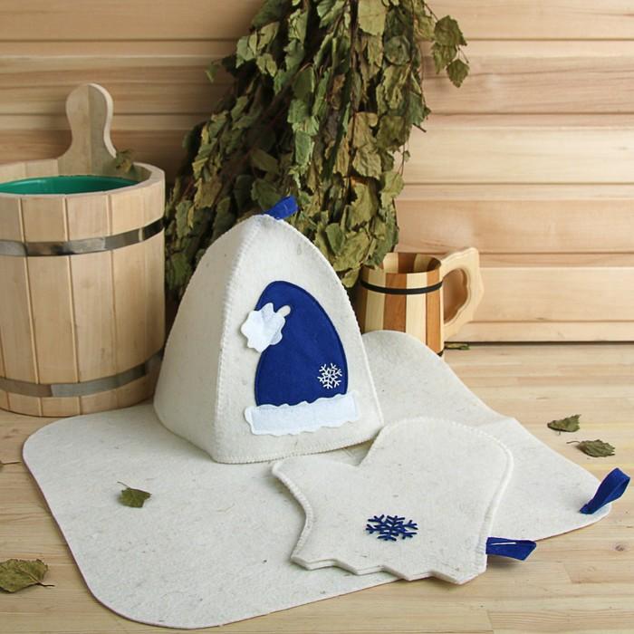 """Набор банный подарочный """"С Новым годом"""" (коврик, рукавица, шапка), войлок, синий"""