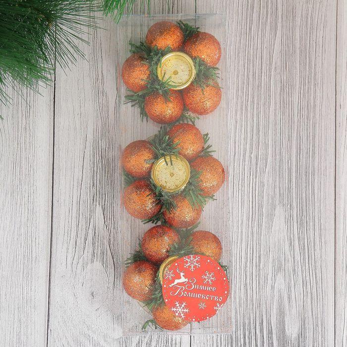 """Подсвечник новогодний """"Бронзовые шарики"""" на одну свечу (набор 3 шт) d-7 см"""