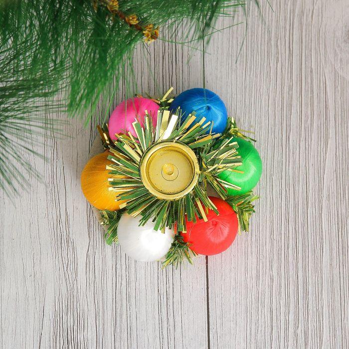 """Подсвечник новогодний """"Цветные шарики"""" на одну свечу d-8 см"""