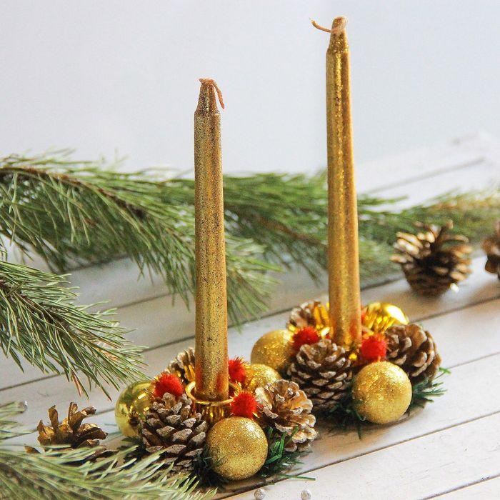 """Набор свечей с подсвечником """"Золотые шары"""" (набор 4 шт) 4*13*17 см"""