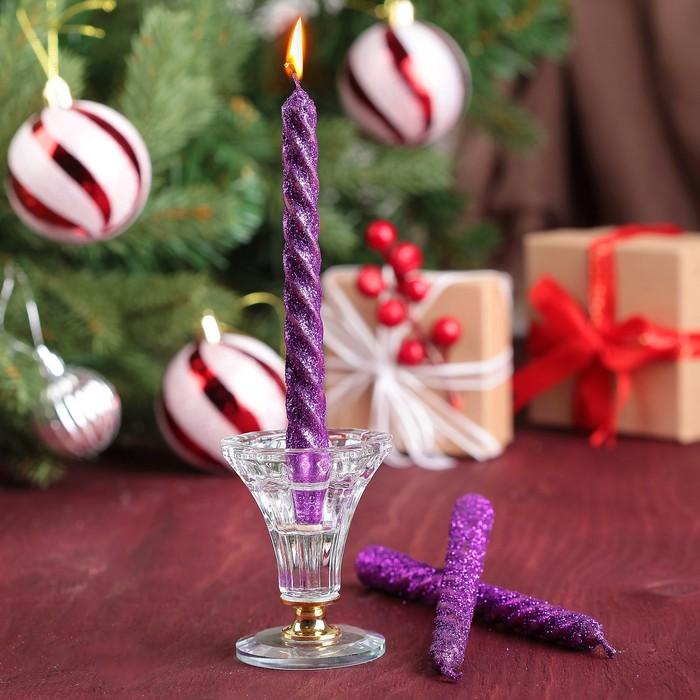 Набор свечей витых 15см, 3шт, фиолетовый, блистер