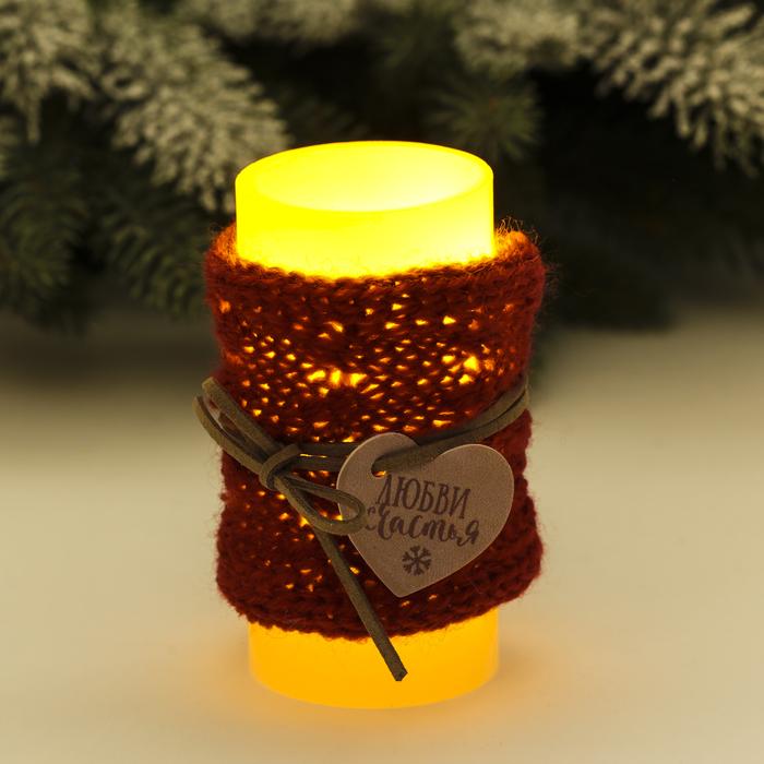 Свеча светодиодная восковая «Любви», 5 × 10 см
