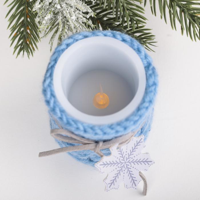 Свеча светодиодная восковая «Снежинка», 5 × 7 см