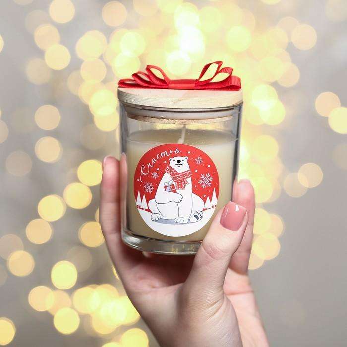 Свеча с деревянной крышкой «Счастья», белый медведь
