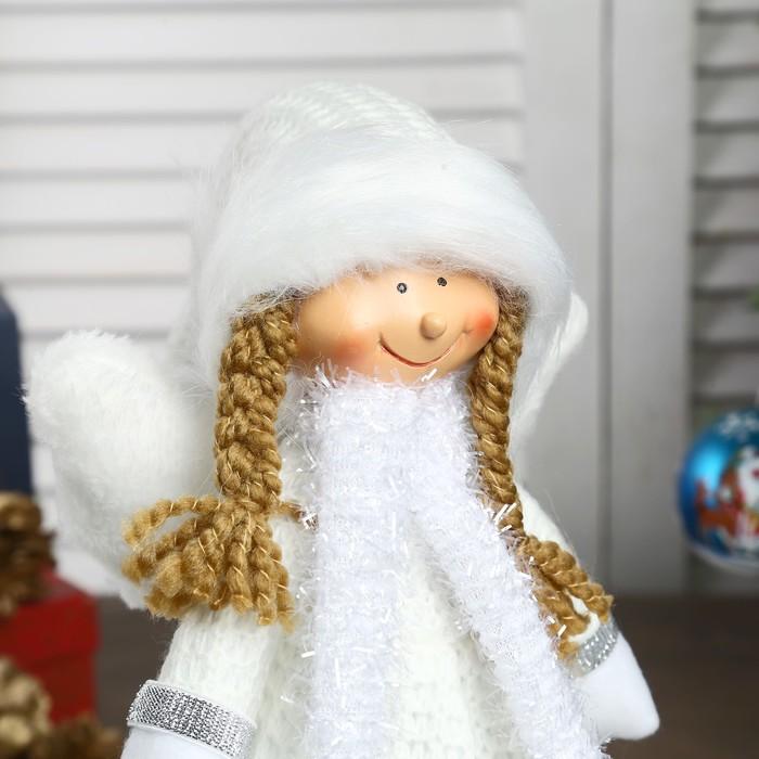 """Кукла интерьерная """"Ангел-девочка в белом платье с сердечками"""" 35 см"""
