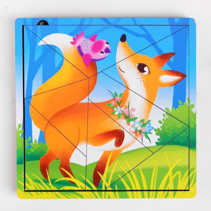 Пазл разрезной «Лесные животные», 3 картинки в раме