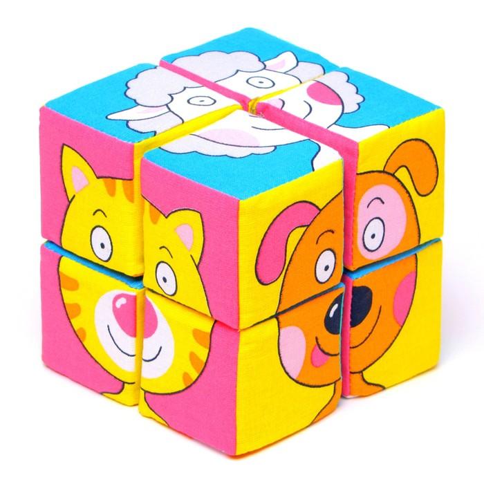 Набор мягких кубиков «Собери картинку.Зверята»
