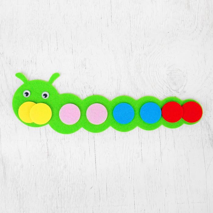 """Развивающая игрушка - учим цвета """"Гусеница"""" из фетра"""