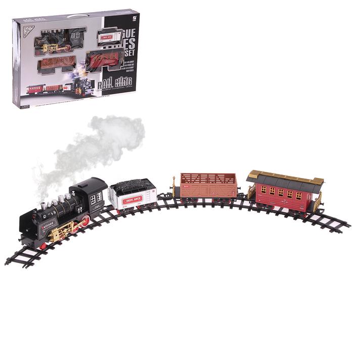 Железная дорога «Классика», свет и звук, с дымом, работает от батареек