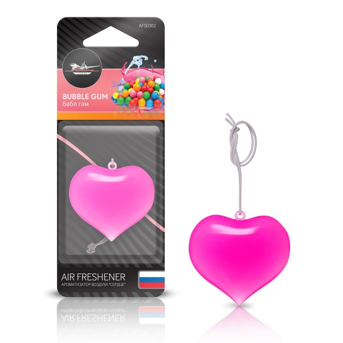 "Ароматизатор подвесной пластик ""Сердце"" AFSE002, бабл гам"