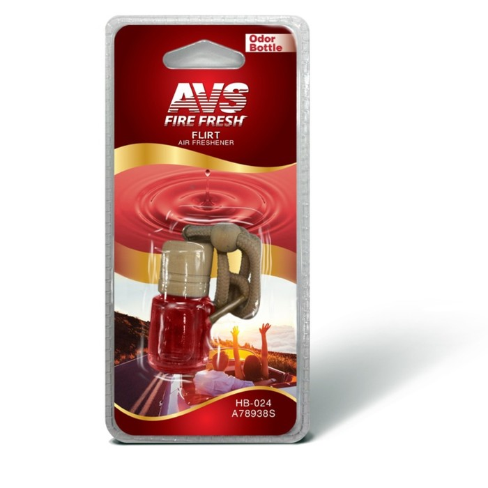 "Ароматизатор AVS Odor Bottle, на зеркало, ""флирт"", бутылочка"