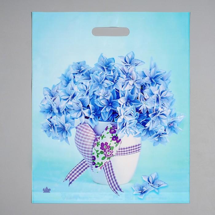 """Пакет """"Небесные цветочки"""", полиэтиленовый с вырубной ручкой, 38 х 45 см, 60 мкм"""