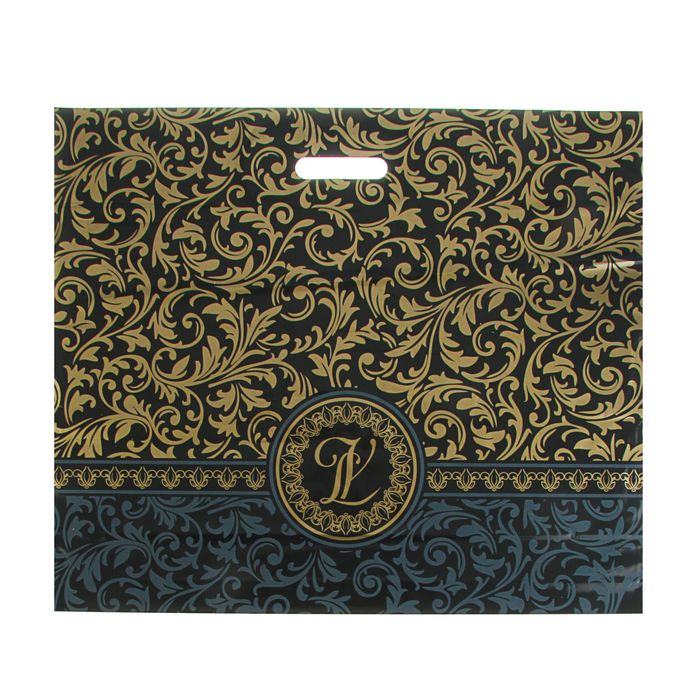 """Пакет """"Версаль"""" чёрный, полиэтиленовый с вырубной ручкой, 50 х 60 см, 70 мкм"""