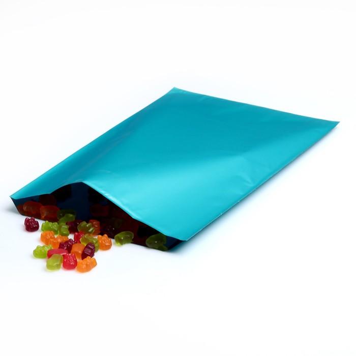 Пакет подарочный, металлизированный, небесно-голубой, 25 х 40 см
