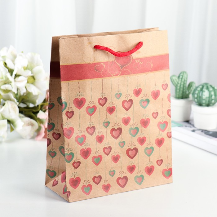 Пакет крафт «Сердечки» , 19 х 24 х 8 см