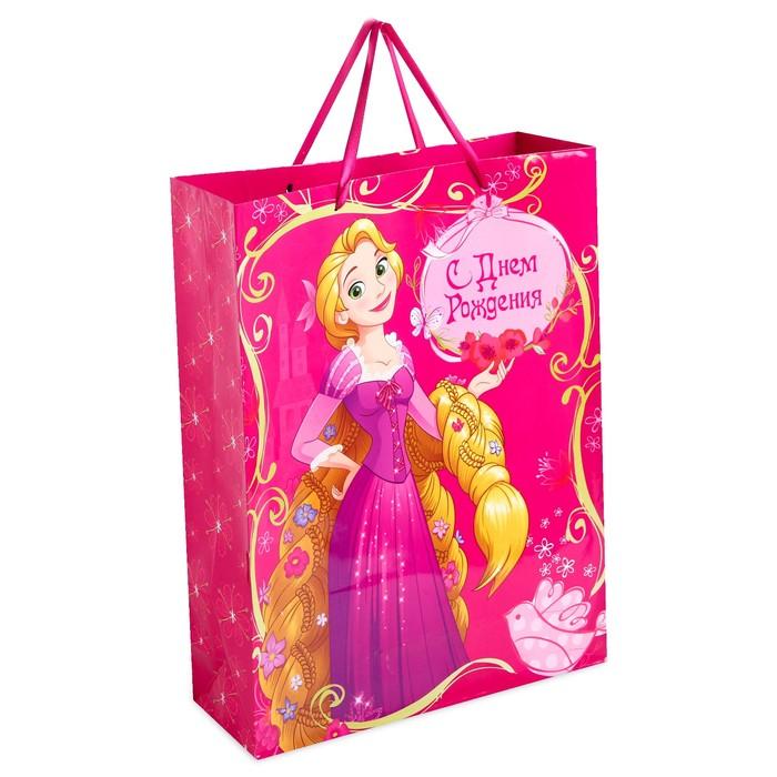 """Пакет ламинированный вертикальный """"С Днем Рождения"""", Принцесса: Рапунцель, 23 х 27 х 11.5 см"""