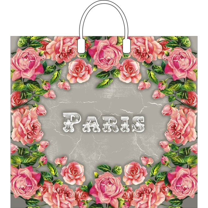 """Пакет """"Сады Парижа"""", полиэтиленовый с пластиковой ручкой, 37 х 34 см, 80 мкм"""