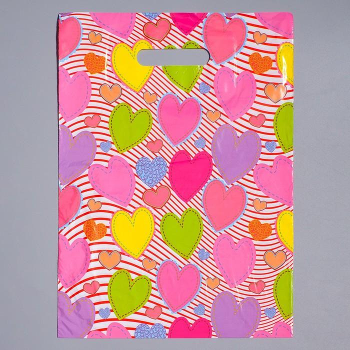 """Пакет """"Красочные сердечки"""", полиэтиленовый с вырубной ручкой 30 х 40 см, 40 мкм"""