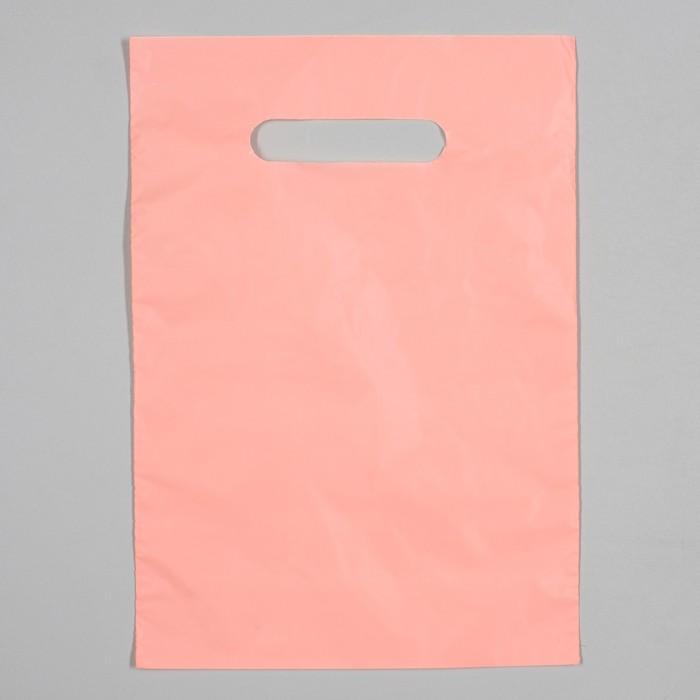 Пакет полиэтиленовый, с вырубной ручкой, персиковый, 20 х 30, 33 мкм