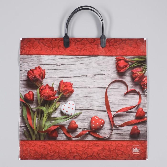 """Пакет """"Красная лента"""", полиэтиленовый с пластиковой ручкой, 36 х 37 см, 100 мкм"""