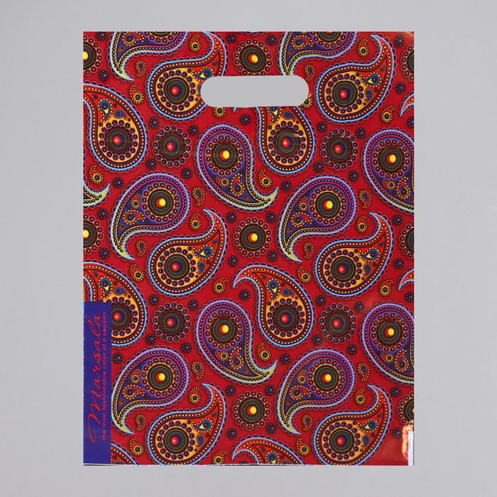 """Пакет """"Марсала"""", полиэтиленовый с вырубной ручкой, 30 х 40 см, 35 мкм"""