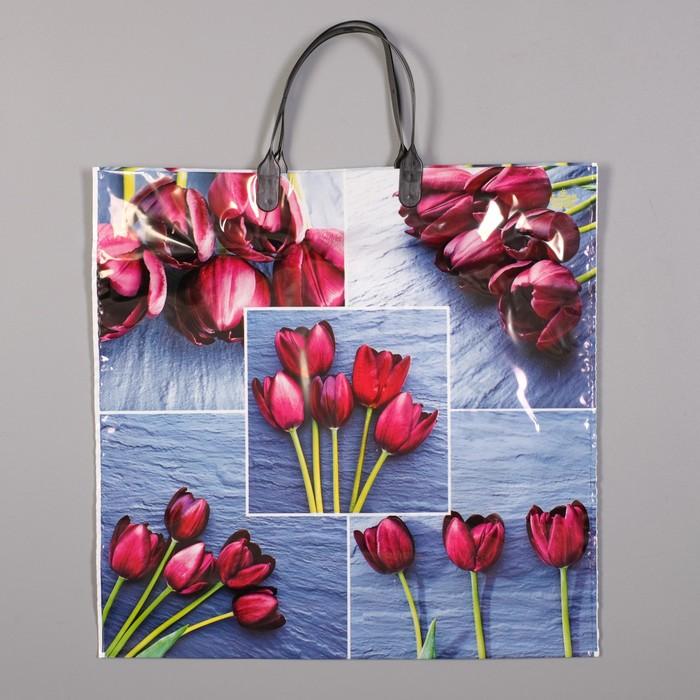 """Пакет """"Коллаж тюльпаны"""", полиэтиленовый с пластиковой ручкой, 36 х 37 см, 100 мкм"""