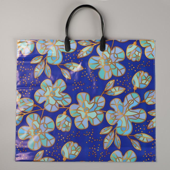 """Пакет """"Голубые цветы"""", полиэтиленовый с пластиковой ручкой, 38х35 см, 110 мкм"""