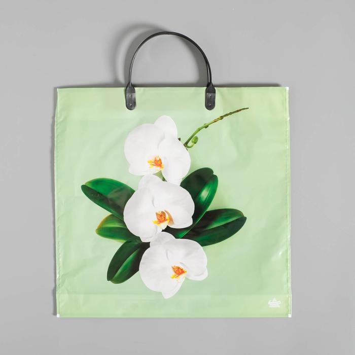 Пакет «Орхидея на салатовом» , полиэтиленовый с пластиковой ручкой, 36 х 37 см, 100 мкм