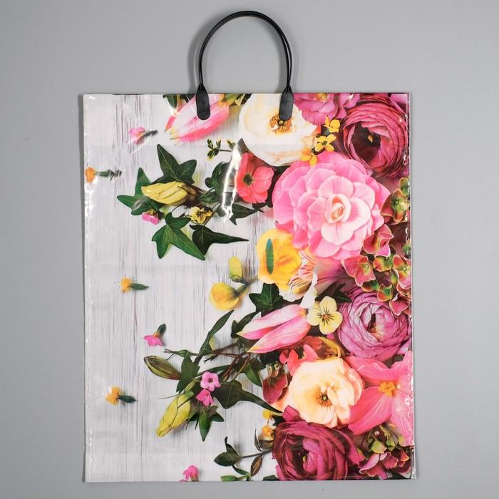 """Пакет """"Нежные цветы"""", полиэтиленовый с пластиковой ручкой, 38 х 45 см, 100 мкм"""