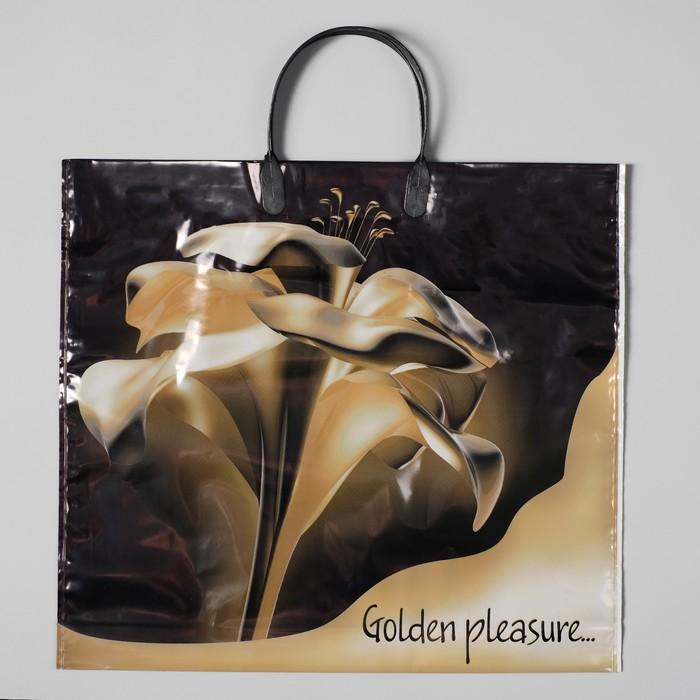 """Пакет """"Золотой цветок"""", полиэтиленовый с пластиковой ручкой, 38 х 35 см, 110 мкм"""