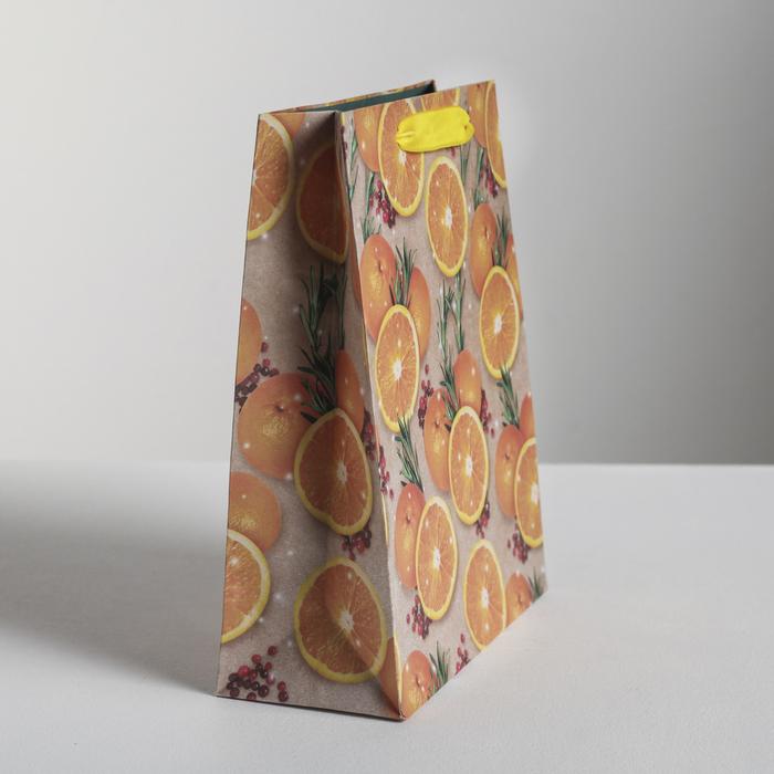 Пакет вертикальный крафтовый «Апельсины», 18 х 23 х 8 см