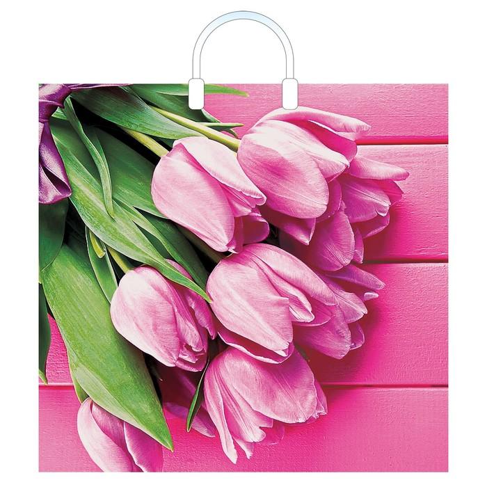 """Пакет """"Букет тюльпанов"""", полиэтиленовый с пластиковой ручкой, 38 х 35 см, 100 мкм"""