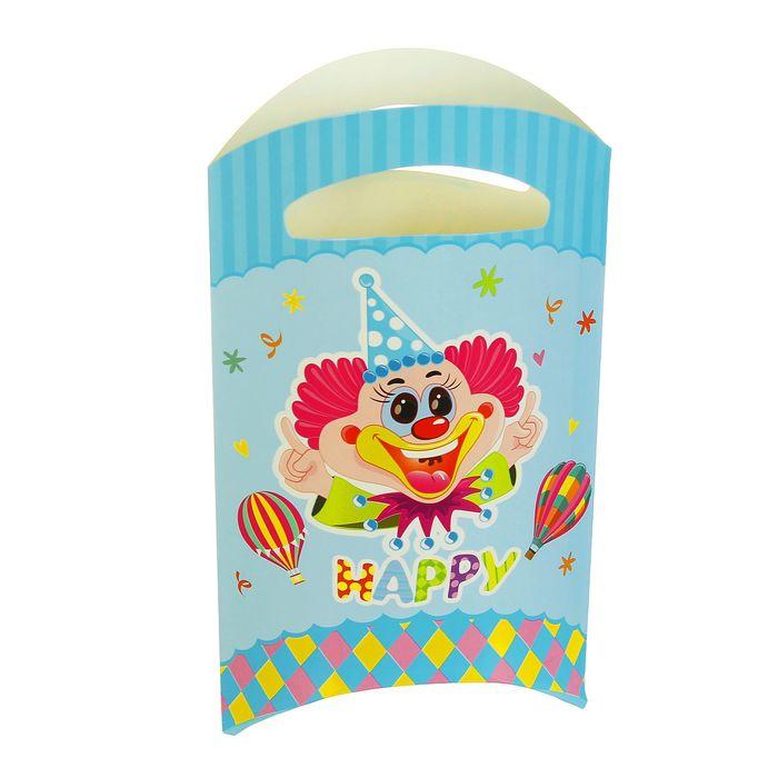 """Пакет подарочный 14*24 см """"Клоун"""" голубой цвет (набор 6 шт)"""