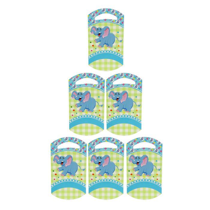 """Пакет подарочный 14*24 см """"Слоник"""" голубой цвет (набор 6 шт)"""
