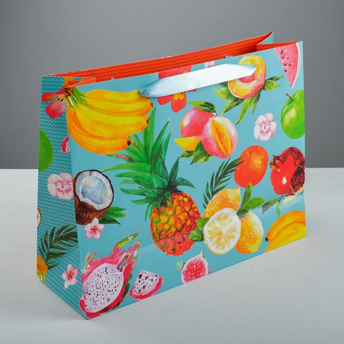 Пакет ламинированный горизонтальный, «Экзотические фрукты», 35 × 27 × 12 см