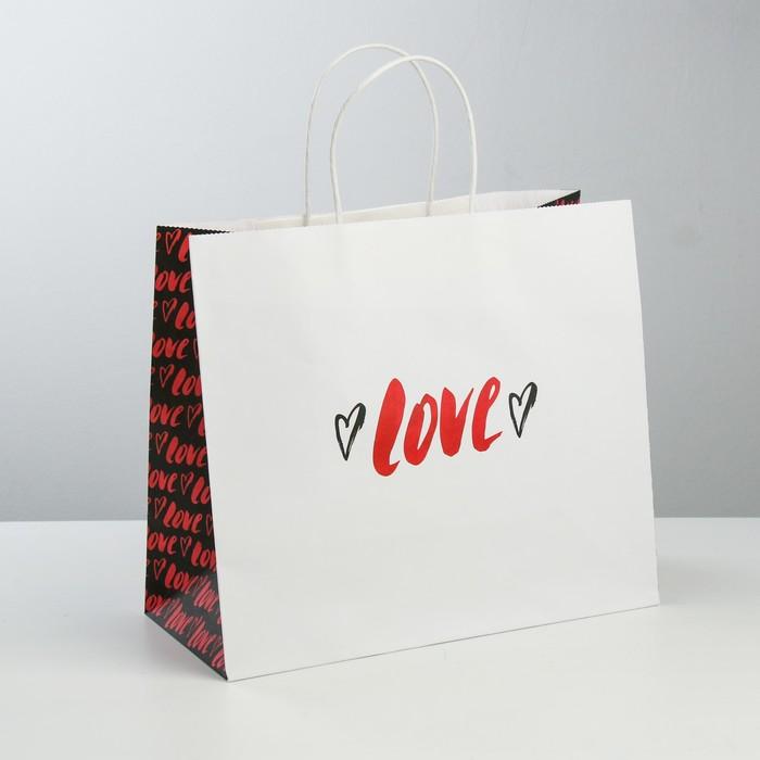 Пакет подарочный крафт Love, 32 × 28 × 15 см