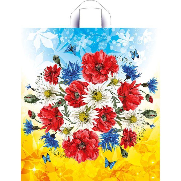 """Пакет """"Луговые цветы"""", полиэтиленовый с петлевой ручкой, 44x40 см, 40 мкм"""