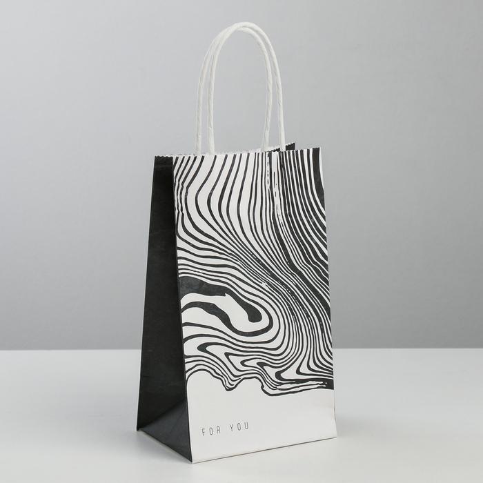 Пакет подарочный крафт For you, 12 × 21 × 9 см