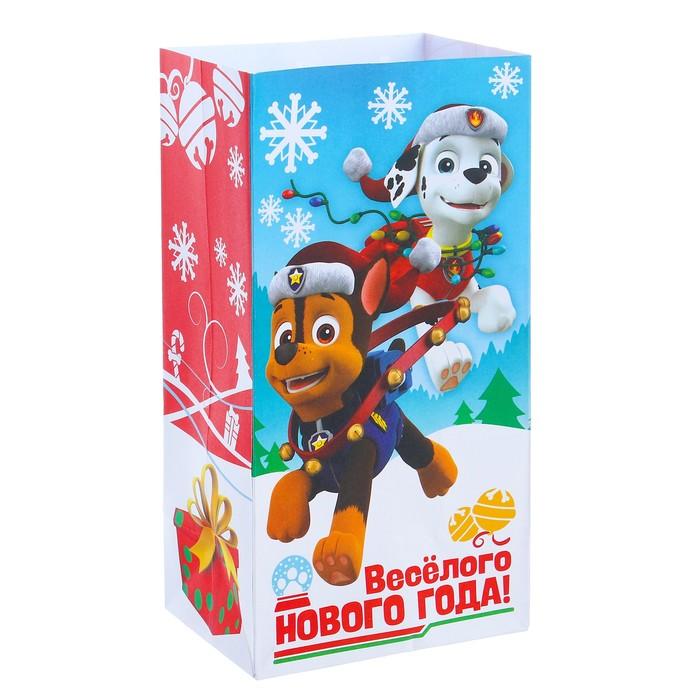 "Пакет подарочный без ручек «Веселого Нового года!"", PAW PATROL, 10 х 19,5 х 7 см"