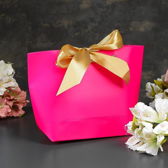 Пакет-сумка ламинированный «Фуксия», розовый, 21 х 7 х 17 см