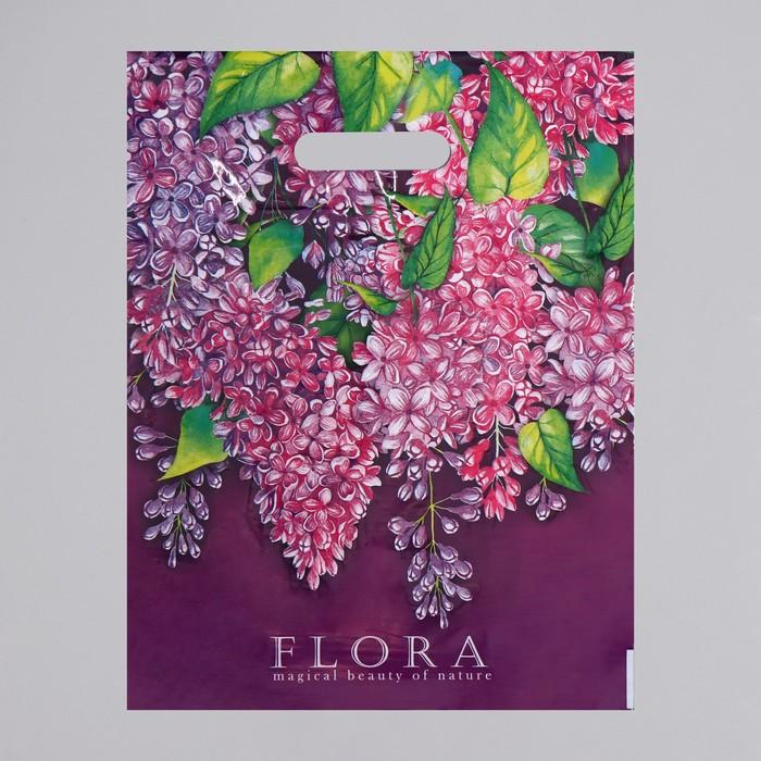 """Пакет """"Флора"""", полиэтиленовый с вырубной ручкой, 31 х 40 см, 60 мкм"""