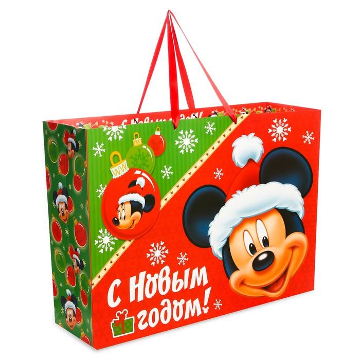 Пакет подарочный ламинированный «Подарок от деда Мороза», Микки Маус, 61 х 46 х 20 см