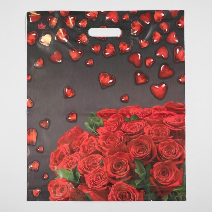 """Пакет """"Мармеладные сердечки"""", полиэтиленовый с вырубной ручкой, 38 х 45 см, 60 мкм"""
